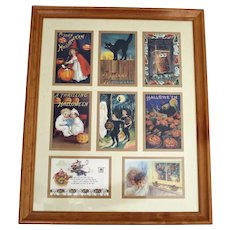 Framed Group of 8 Halloween Postcards  - Just in Time for Halloween