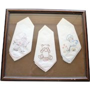 3 Framed Vintage Hand Embroidered Child's Handkerchiefs