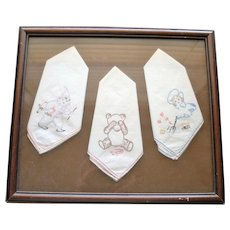 3 Framed Vintage Hand Embroidered Child's Handkerchiefs