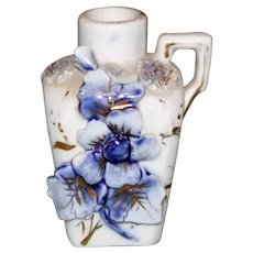 Antique Blue and White Vase with Handle and Applied Flowers