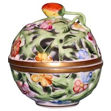 Herend Reticulated Trinket Box with Lid (or Potpourri) with Strawberry Finial