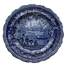 """Antique Historical Blue Transferware Plate with Pagoda Scene, 10"""""""