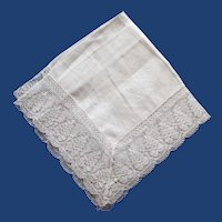 Vintage Fine Irish Linen Handkerchief, Beautiful Lace Border,  with Tag, Bridal Collection