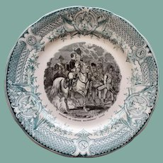 1891-1900 Antique French Faience Napoleon Transferware Plate