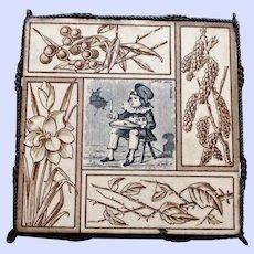 """Antique """"Little Jack Horner"""" Tile and Trivet"""
