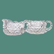 Hunt Royal Sugar & Creamer American Brilliant Cut Glass, Signed