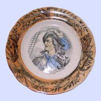 Antique French Faience Plate, Claude de  Forbin, Naval Commander