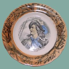 Antique French Faience Plate, Claude de  Forbin, Naval Commander