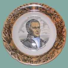 Antique French Faience Plate, Dumont D'Urville, Naval Commander