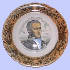 Antique French Faience Plate, Dumont D'Urville, Naval Commander