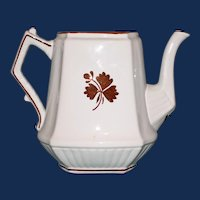 Antique English Ironstone Tea Leaf H. Burgess, Burslem Coffee Pot