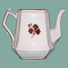 Antique English Ironstone Tea Leaf H. Burgess, Burslem Coffee Pot