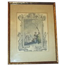 Early 19th Century French Hand Colored Engraving for Month of January