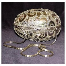Judith Leiber Minaudiere Silver Egg Shaped Handbag with Crystal Swirls
