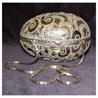 Judith Leiber Minaudiere Silver Egg Shaped Handbag with Crystal Swirls