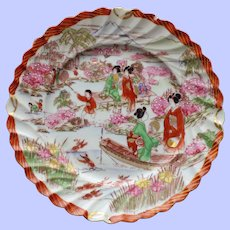 Set of 3 Antique Japanese Fluted Plates with Geisha
