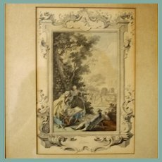 "Month of  the Year ""July"" 18th Century French Engraving, Hand Colored, Framed"