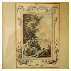"Month of  the Year ""July"" 18th Century French Etching, Hand Colored, Framed"