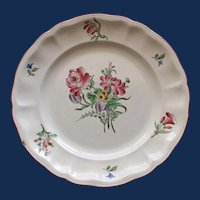 Antique French Faience Keller & Guerrin (K et G) Luneville Rose Bouquet Plate