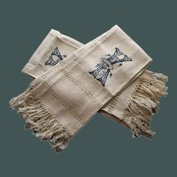 "Pair of Antique Fringed Linen Damask Towels, Aesthetic Monogram ""K"""