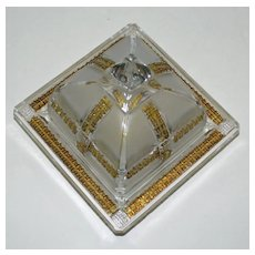 EAPG Klondike Covered Butter Dish, Frosted and Gold Pattern Glass