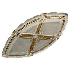 Klondike Yellow Frosted Canoe Shaped Relish, Early American Pattern Glass