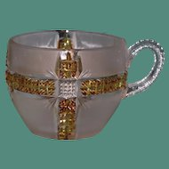 Klondike Gold & Frosted Pressed Glass Cup, Dalzell, Gilmore, Leighton