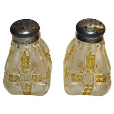 Antique Klondike Gold Frosted Glass Salt & Pepper by Dalzell, Gilmore, Leighton