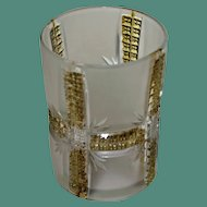 Antique Frosted and Gold Klondike Tumbler, Early American Pattern Glass