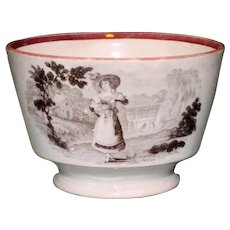 Antique English Handleless Brown Transferware Cup with Woman Carrying Bouquet on Both Sides
