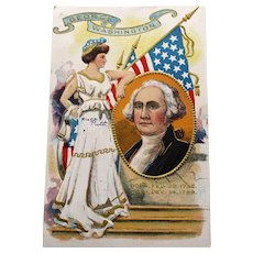 1910 Patriotic Postcard, George Washington and Lady Liberty
