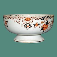 Large English Staffordshire Centerpiece Bowl with Imari Colors