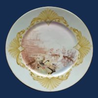1906 French Limoges Fish Plate, Artist Signed #2