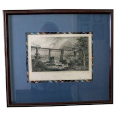 "1871 Antique American Steel Engraving, ""City of Louisville"", D. Appleton & Co., Framed/Matted"