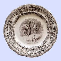"1848-1851 Antique Humorous Pictorial French Faience Plate, ""Wolf in the Woods"""