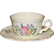 Luneville Cafe au Lait Cup and Saucer, French Faience, 2 Available