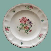 Vintage Keller & Guerin Luneville French Faience Plate, Tulip and Rose