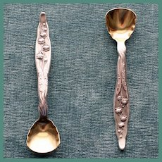 Antique Whiting Sterling Lily of the Valley Master Salt Spoon, 2 Available