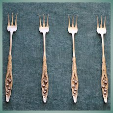 Set 4 Antique Sterling Whiting Lily of the Valley Cocktail Forks