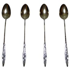 Set of 4 Whiting Sterling Lily of the Valley Iced Tea Spoons