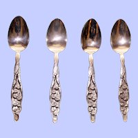 Set of 4 Antique Monogrammed Whiting Lily of the Valley Sterling Teaspoons