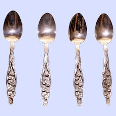 Set of 4 Antique Monogrammed Whiting Lily of the Valley Teaspoons