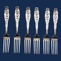 1888 Antique Set of 6 Whiting Lily of the Valley Sterling Place Forks, 7""
