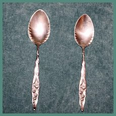 Pair Antique Whiting Sterling Lily of the Valley Grapefruit Spoons