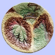 Antique Majolica Plate with Overlapping Begonia Leaves