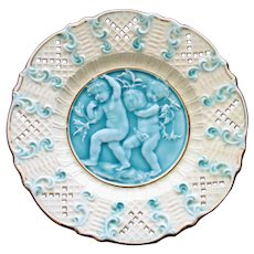Antique Majolica Plate Featuring 2 Cherubs on Turquoise Background