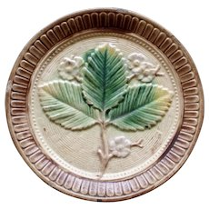 Antique Majolica Plate w Leaves and Flowers