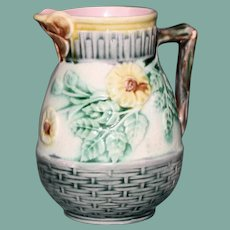 "Antique American Griffin, Smith & Hill Etruscan Majolica Cream Pitcher, ""Wild Rose"",  Butterfly Spout, 4.25"""