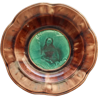 """Antique French Majolica Bowl, """"Actress"""" by Fabrique D'Emaux"""