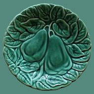 "Vintage Majolica Green Plate with ""Pair of Pears"""